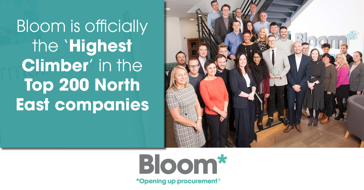 Bloom is officially the 'Highest Climber' in the Top 200 North East companies